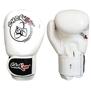 Lederen bokshandschoenen Get'em Series wit