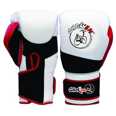 Lederen Handschoenen Punch Line Wit/Zwart/Rood